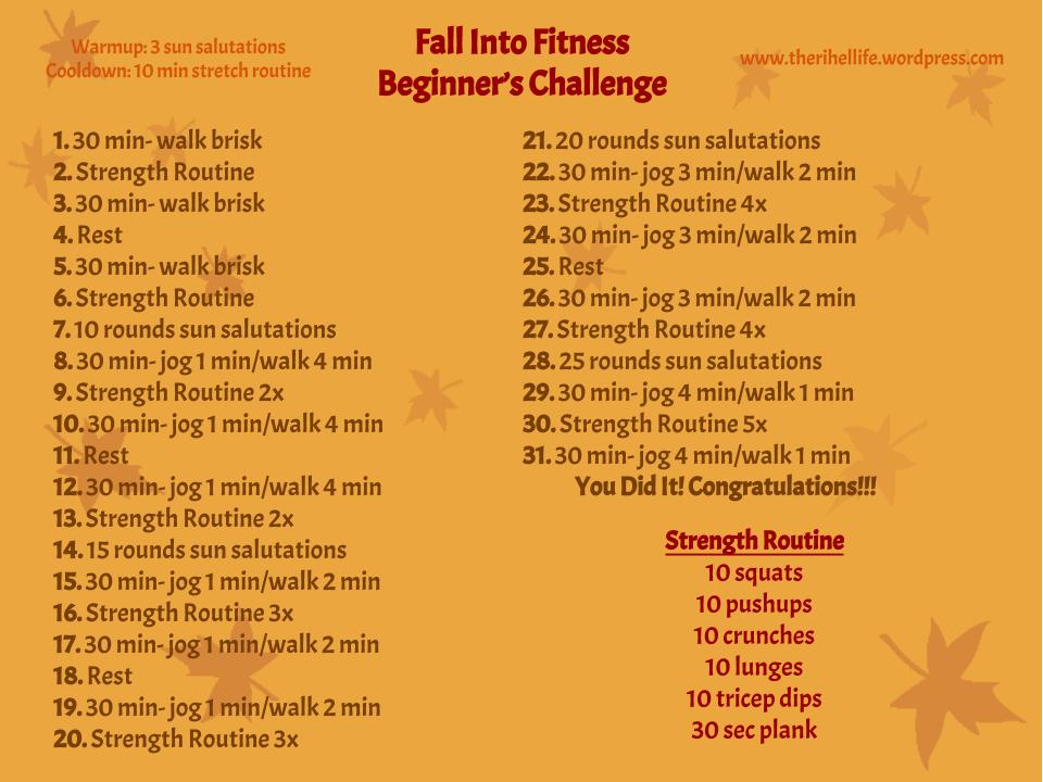 Fall into Fitness- Beginner's Challenge | The Rihel Life