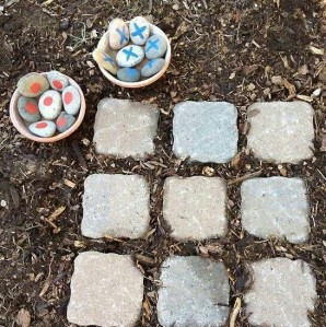 Outdoor Tic Tac Toe!!! I wish I knew where this idea came from. Thanks Pinterest!