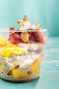 Coconut Chia Pudding with strawberries, mangoes, and almonds...oh my! From womenshealthmag.com
