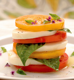 A summer classic, tomato, basil and mozzarella salad from thenest.com